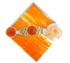 Abstract stained glass orange and yellow by Nostalgianmore on Etsy