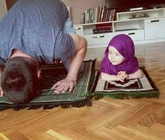 Be a positive Muslim role model for your kids. Teach them how to pray!