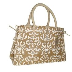 To store things in on hooks on the shelf by entry Natural & Cream Damask Jute Handbag