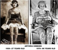 What more proof do you need to see how enduring and unchanging ARTORIA GIBBONS' tattoos really were? Though age may have changed her body---it didn't dim the sparkle in her eye or the beauty in her skin!