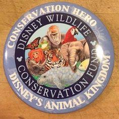 Disney Wildlife Conservation Fund Button Pin in Blue circa 2007 NEW Never Used