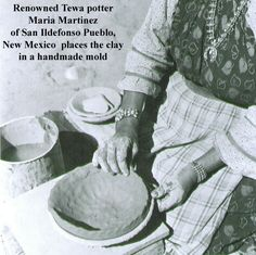 Renowned Tewa potter Maria Martinez of San Ildefonso Pueblo New Mexico places the clay in a handmade mold.