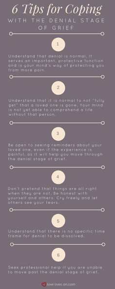 Infographic with 6 Tips for Coping With the Denial Stage of Grief.