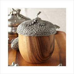 Vagabond House Pewter Top Wood Acorn Box