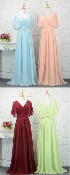 Colorful chiffon V neck long spring prom dress, long bridesmaid dress