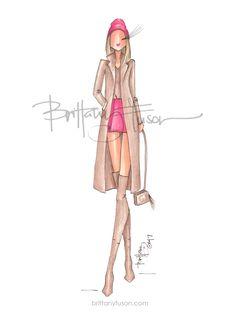 hot pink and tan | Gucci disco bag | tan coat | camel coat | fashion illustration | Brittany Fuson