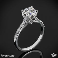 Verragio 4 Prong Pave Diamond Engagement Ring #Whiteflash #Verragio
