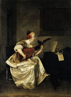 The Lute Player by TERBORCH, Gerard #art