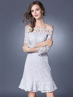 Pink Off Shoulder Ruffle Hem 3/4 Sleeve Crochet Lace Dress