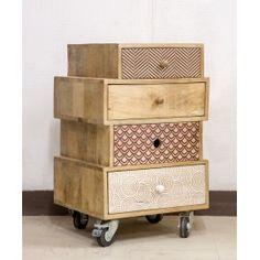 multi drawer printed wood storage cabinet on wheels - Sweet mango