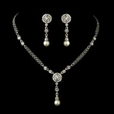 Antique Silver Clear Austrian Crystal and Diamond White Pearl Necklace & Earrings Set $75.00