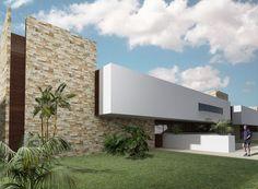 Busca imágenes de Casas de estilo moderno en blanco: FACHADA PRINCIPAL. Encuentra las mejores fotos para inspirarte y crea tu hogar perfecto.
