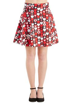 Sweet Your Heart Out Skirt - Valentine's, Short, Cotton, Woven, Red, Novelty Print, A-line, Vintage Inspired, High Waist, Spring, Summer, Good, Red