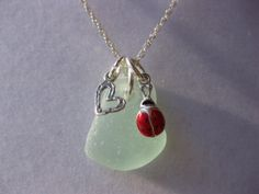 lady Bug Seaglass beach glass  jewelry lady bug by SamiSeaglass, $42.00