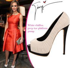 Jessica Alba in Giuseppe Zanotti white chiffon peep-toe platform [CELE067] - $229.00 : Discounted Christian Louboutin,Jimmy Choo,Valentino Shoes Online store