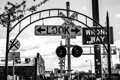 Black and white signs on the railroad in Flagstaff Arizona.