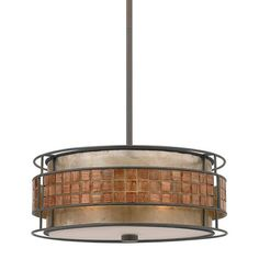 Steel mini pendant with a mica shade and banded tile accent.Product: Mini pendant   Construction Material: Steel ...