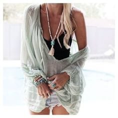 Sheer throw over shirt
