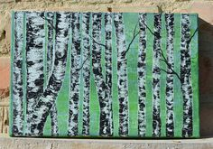 Abstract Birch Trees Birchs Trees Acrylic painting Summer