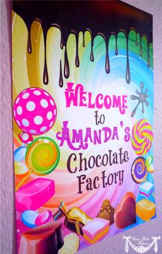 Willy Wonka - PRINTABLE WELCOME SIGN - Cutie Putti Paperie. $5.50, via Etsy.