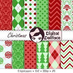 Holiday Digital Paper Christmas Scrapbook Paper by DigitalDollface