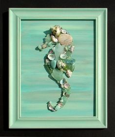 "Seahorse artwork made of sea glass and shells. ""Shell Designs"" is the team of Mary Bromberger Bowles and Kerrie Ostrowski Bromberger. All seashells, seaglass and sea life used to create our art and crafts are genuine, natural and non-endangered. Sea Glass Crafts, Sea Crafts, Sea Glass Art, Sea Glass Beach, Beach Stones, Nature Crafts, Seashell Art, Seashell Crafts, Starfish"