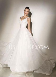 Wedding Dresses - $152.69 - A-Line/Princess V-neck Chapel Train Chiffon  Satin Wedding Dresses With Ruffle  Beadwork (002011603) http://jjshouse.com/A-line-Princess-V-neck-Chapel-Train-Chiffon--Satin-Wedding-Dresses-With-Ruffle--Beadwork-002011603-g11603