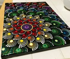 This is a inches (approximately cm) canvas. All in dots. Finished touch with krylon UV resistant clear acrylic coating. Chakra Healing, Chakra Art, Mandala Art, Dot Art Painting, Beautiful Rangoli Designs, Clear Acrylic, Art Images, Cool Words, Photo Art