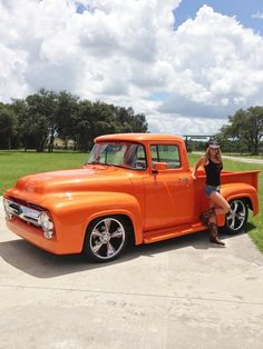 1956 Ford F100.     Orange looks great on this truck. www.batsbirdsyard.com = Bat Houses.