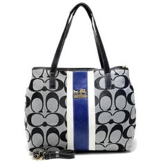 Look Here! Coach Hamptons Weekend Signature Stripe Medium Grey Totes AEX Outlet Online