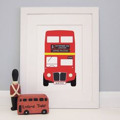 personalised london bus print by milly bee | notonthehighstreet.com