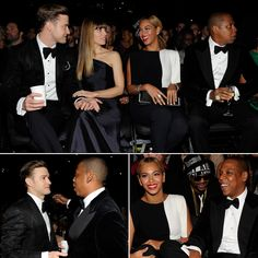 JT and Jessica Drink and Mingle With Beyoncé at Jay-Z at the Grammys