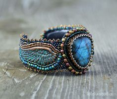Angel Bead Embroidered Cuff Bracelet with Labradorite Cabochon.... Green, Gold and Blue Seed Bead Embroidery Wing