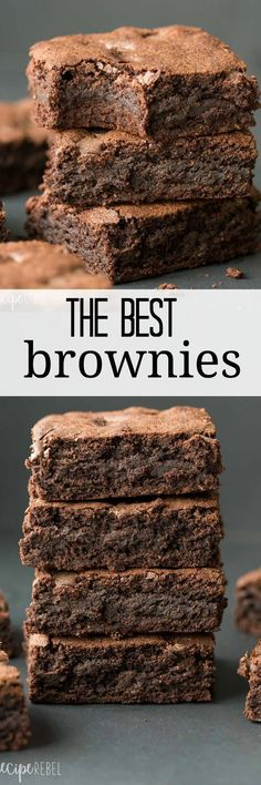 Perfectly rich dense fudgy brownies every time. They are so easy and come Perfectly rich dense fudgy brownies every time. They are so easy and come Brownie Recipes, Cookie Recipes, Dessert Recipes, Best Brownie Recipe, Best Brownies, Fudgy Brownies, Homemade Brownies, Homemade Snickers, Just Desserts
