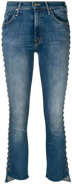 Mother stud embellished jeans Embellished Jeans, Cropped Jeans, Hemline, Women Wear, Cotton, Pants, Shopping, Style, Clothing
