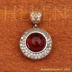 Hurrem Sultan Pendant Round Shape Garnet Color Look Ottoman Silver Jewelry 925SS