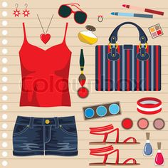 Fashion set with jeans skirt