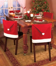 Santa Red Hat Chair Covers Christmas Decorations Dinner Chair Xmas Cap Sets Brand new and high quality.Material: Non-WovenSize : RedPackage Include: Santa Red Hat Chair Covers Christmas Decorations Dinner Chair Xmas Cap Sets(without retail package) Kitchen Chair Covers, Chair Back Covers, Seat Covers, Chair Backs, Table Covers, Party Decoration, Christmas Table Decorations, Home Decoration, Halloween Decorations