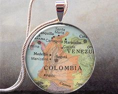 Colombia map pendant, Colombia map necklace charm, Colombia pendant, map jewelry