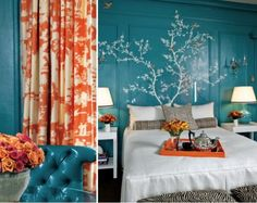Tree painted on wall as a headboard.  Other beautiful items in turquoise - 18 Examples of Delightful Atmosphere with Turquoise Color in Your Home