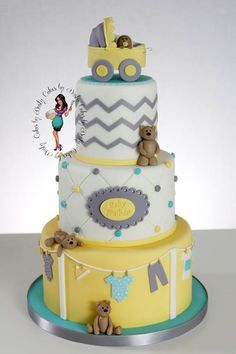 Gray and yellow baby shower cake