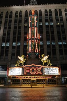 Fox Theater is definitely a reminder that you're on Woodward Avenue in Detroit.right across Comerica Park (where the Detroit Tigers play. Flint Michigan, State Of Michigan, Detroit Michigan, Michigan Facts, Detroit Rock City, Detroit Area, Metro Detroit, Michigan Travel, Travel Oklahoma