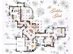 The Golden Girls House. famous tv show floor plans