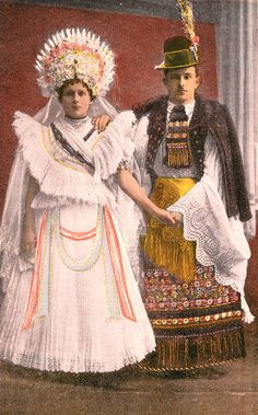 Illustration of woman and man in folk costume, Hungary, circa :: Blanche Payne Regional Costume Photograph and Drawing Collection Folk Costume, Costumes, Adele, Man Skirt, Folk Clothing, Iconic Dresses, Bridal Crown, Cute Tshirts, Cute Summer Outfits