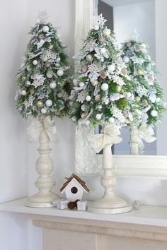 The candlestick bases give great height to the trees for a bolder look! Sponsored Sponsored The candlestick bases give great height to the trees for a bolder look! Pink Christmas Decorations, Christmas Tree Crafts, Christmas Arrangements, Christmas Flowers, Noel Christmas, Christmas Candles, Christmas Centerpieces, Rustic Christmas, Christmas Projects