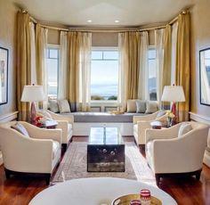décoration fenêtre en saillie rideaux occultant couleur or