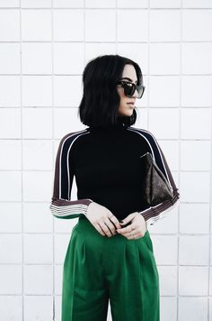 Up and Coming Designer Series: - Tania Sarin New York Street Style, New York Style, Aesthetic Look, Green Pants, Punk Fashion, White Sneakers, New York Fashion, Everyday Fashion, Casual Looks