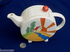RED ROOFS BONJOUR REPRO PAST TIMES CLARICE CLIFF POTTERY ART DECO TEAPOT £23.00
