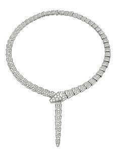 BVLGARI Serpenti 18ct white-gold and pavé-diamond necklace