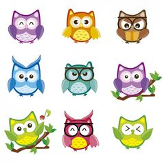 Cute and happy owl set Owl School, Cute Owl Cartoon, Book Clip Art, Happy Owl, Animal Templates, Owl Vector, Owl Illustration, Illustrations, Owl Pictures